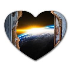 Door Breakthrough Door Sunburst Heart Mousepads
