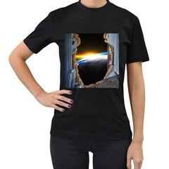 Door Breakthrough Door Sunburst Women s T-Shirt (Black)