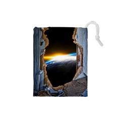 Door Breakthrough Door Sunburst Drawstring Pouches (small)