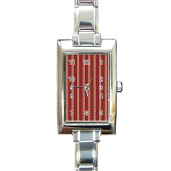 Pattern Background Red Stripes Rectangle Italian Charm Watch
