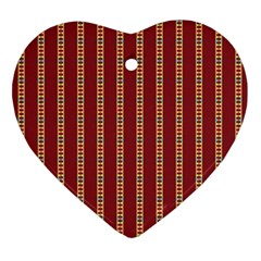 Pattern Background Red Stripes Ornament (heart)