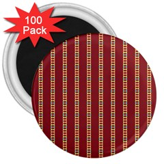 Pattern Background Red Stripes 3  Magnets (100 Pack)