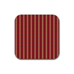 Pattern Background Red Stripes Rubber Coaster (square)
