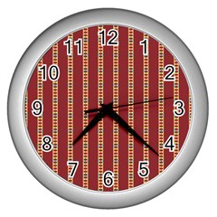 Pattern Background Red Stripes Wall Clocks (silver)