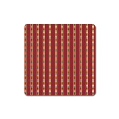 Pattern Background Red Stripes Square Magnet