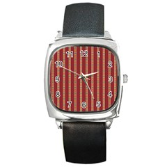 Pattern Background Red Stripes Square Metal Watch