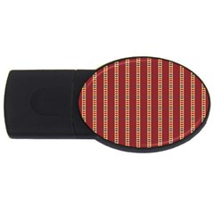Pattern Background Red Stripes Usb Flash Drive Oval (4 Gb)