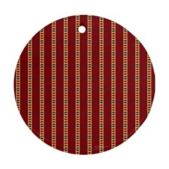 Pattern Background Red Stripes Round Ornament (two Sides)