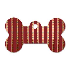 Pattern Background Red Stripes Dog Tag Bone (one Side)
