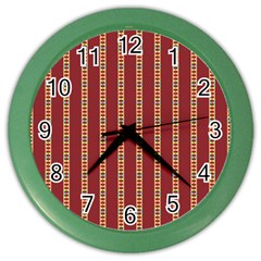 Pattern Background Red Stripes Color Wall Clocks
