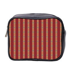 Pattern Background Red Stripes Mini Toiletries Bag 2 Side