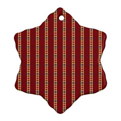 Pattern Background Red Stripes Ornament (snowflake)