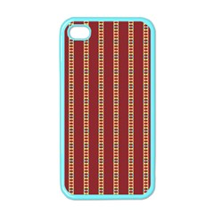 Pattern Background Red Stripes Apple Iphone 4 Case (color)