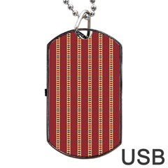 Pattern Background Red Stripes Dog Tag Usb Flash (two Sides)