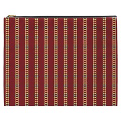 Pattern Background Red Stripes Cosmetic Bag (xxxl)