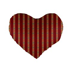 Pattern Background Red Stripes Standard 16  Premium Heart Shape Cushions