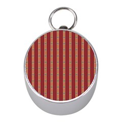 Pattern Background Red Stripes Mini Silver Compasses