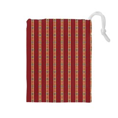Pattern Background Red Stripes Drawstring Pouches (large)