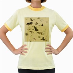 Vintage Old Fashioned Antique Women s Fitted Ringer T Shirts