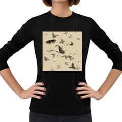 Vintage Old Fashioned Antique Women s Long Sleeve Dark T-Shirts