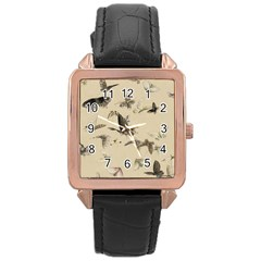 Vintage Old Fashioned Antique Rose Gold Leather Watch
