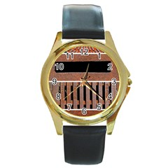 Stainless Structure Collection Round Gold Metal Watch