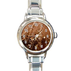 Ice Iced Structure Frozen Frost Round Italian Charm Watch