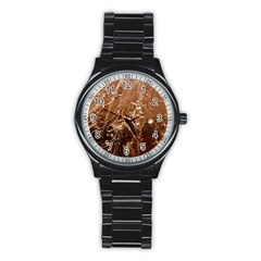Ice Iced Structure Frozen Frost Stainless Steel Round Watch