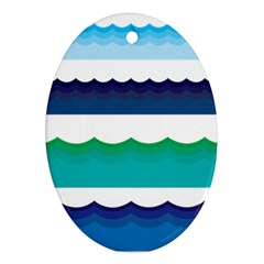 Water Border Water Waves Ocean Sea Ornament (oval)