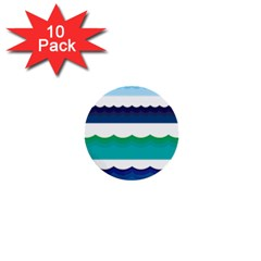 Water Border Water Waves Ocean Sea 1  Mini Buttons (10 Pack)