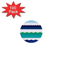 Water Border Water Waves Ocean Sea 1  Mini Buttons (100 Pack)