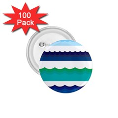 Water Border Water Waves Ocean Sea 1 75  Buttons (100 Pack)
