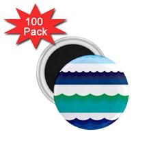 Water Border Water Waves Ocean Sea 1 75  Magnets (100 Pack)