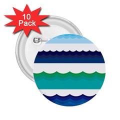 Water Border Water Waves Ocean Sea 2 25  Buttons (10 Pack)