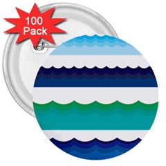 Water Border Water Waves Ocean Sea 3  Buttons (100 pack)