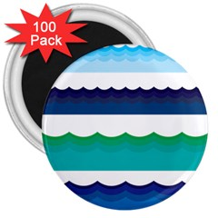 Water Border Water Waves Ocean Sea 3  Magnets (100 Pack)