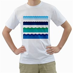 Water Border Water Waves Ocean Sea Men s T Shirt (white) (two Sided)