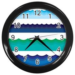 Water Border Water Waves Ocean Sea Wall Clocks (black)