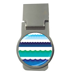 Water Border Water Waves Ocean Sea Money Clips (round)