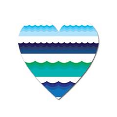 Water Border Water Waves Ocean Sea Heart Magnet