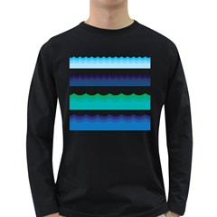 Water Border Water Waves Ocean Sea Long Sleeve Dark T Shirts