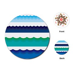 Water Border Water Waves Ocean Sea Playing Cards (round)