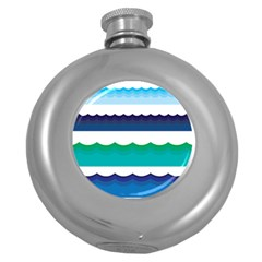 Water Border Water Waves Ocean Sea Round Hip Flask (5 Oz)