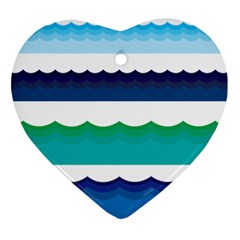 Water Border Water Waves Ocean Sea Heart Ornament (2 Sides)