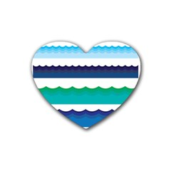 Water Border Water Waves Ocean Sea Rubber Coaster (heart)