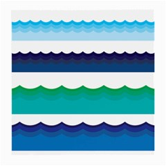 Water Border Water Waves Ocean Sea Medium Glasses Cloth (2 Side)