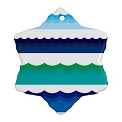 Water Border Water Waves Ocean Sea Ornament (snowflake)