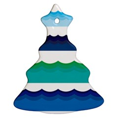 Water Border Water Waves Ocean Sea Christmas Tree Ornament (2 Sides)