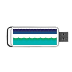 Water Border Water Waves Ocean Sea Portable USB Flash (Two Sides)