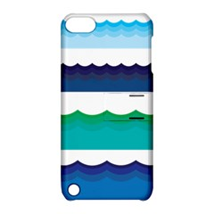Water Border Water Waves Ocean Sea Apple Ipod Touch 5 Hardshell Case With Stand